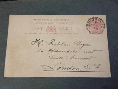 Postcard Straits Settlements ENGLAND 1895 PC 115