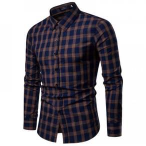 Men's Fashion Dark Color Plaid Pattern Design Slim