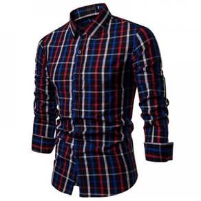 Men's Fashion Slim Plaid Shirt Casual Long Sleeve