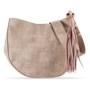 Zalora Tweed Hobo Bag with tassel