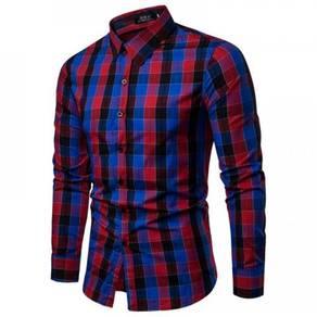 Korean Men's Fashion Casual Plaid Design Collar Lo
