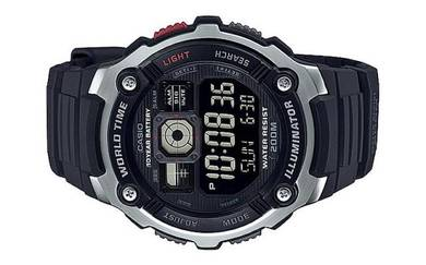 Casio World Time 10 Year Battery Watch AE-2000W-1B