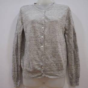 Muji Grey Knitted Crewneck Button Up Cardigan Top.