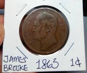 Sarawak Old Coins James Brooke 1863 1 Cent