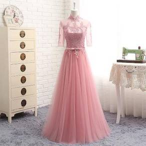 Pink grey cream bridesmaid prom dress RBBD0002