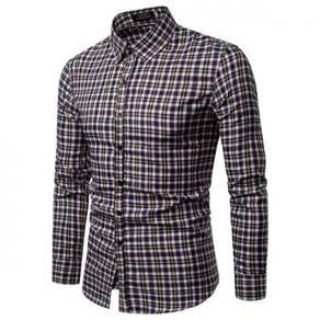 Men's Fashion Plaid Design Collar Slim Long Sleeve
