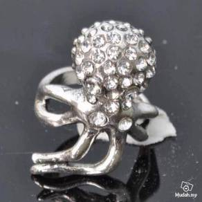 ABRSM-O002 Style Silver Metal Ring size 9 -Octopus