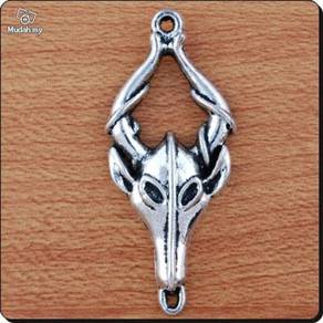 ABPSM-B001 Silver Buffalo Skull Horns Necklace