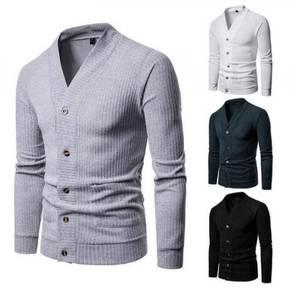 Men's Fashion V- Neck Solid Color Button Design Lo