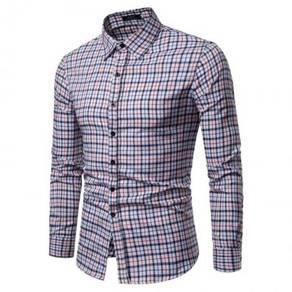 Men's Fashion Casual Plaid Design Collar Slim Long