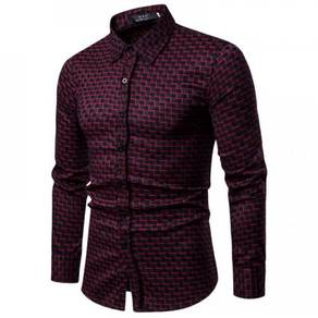Men's Fashion Slim Plus Velvet Small Grid Design L