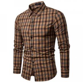 Men's Fashion Plaid Design Collar Long Sleeve Cott