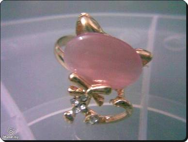 ABRGM-P001 Cute 18KGP Pink Opal Crystal Cat Ring