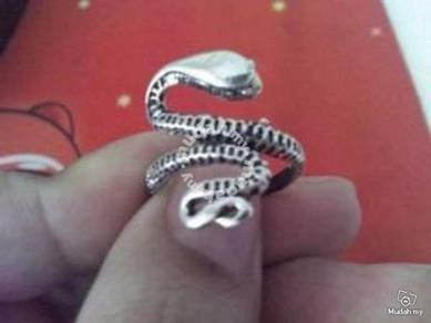 ABRSM-S003 Snake Full Body Silver Metal Ring Sz 10