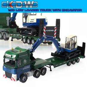1/50 KDW Low Loader Truck with Excavator
