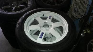 Rim 2nd VR TE37 16 4x100 Cutting Ori Siap Tayar