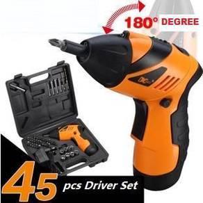 45PCS Cordless Electric Screwdriver Drill Set 180