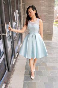 Blue short dinner dress prom party wedding RBP0070