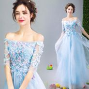 Blue dinner dress prom party wedding bridal RB0084