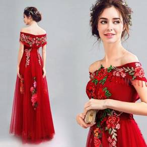Red dinner dress prom party wedding gown RB0087