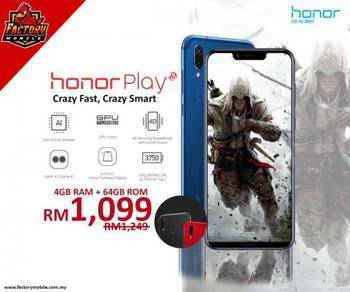 Honor PLAY 4+64GB Kirin 970 12bulan jaminan