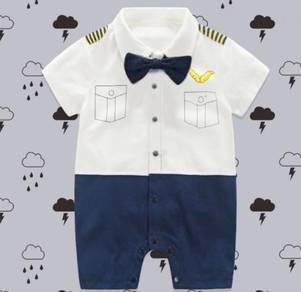 Cute Baby Mr Pilot Romper Short Sleeves