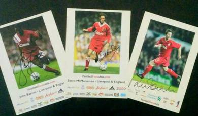 Liverpool players autographed card