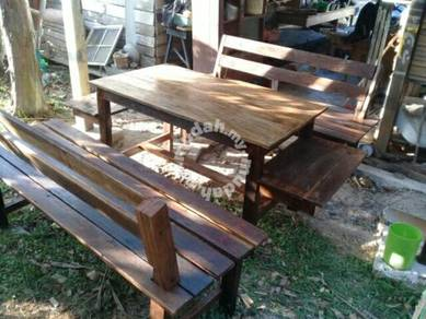 Garden benches with table.