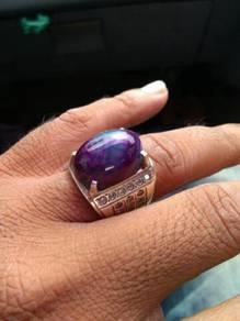 Cincin perak batu akik purple