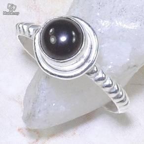 ABRS9-B005 Round Black Onyx Silver 925 Ring Size 7