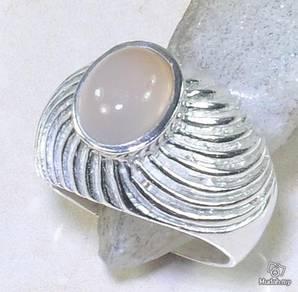 ABRSM-R003 Rose Quartz Fashion Style Silver Ring