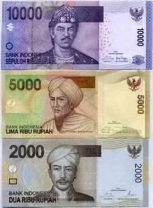 INDONESIA 3 PCS 2000 5000 10000 rp 2016 P NEW UNC
