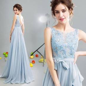 Blue lace dinner dress prom wedding RB0083
