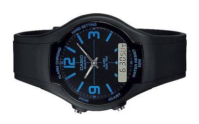 CASIO Men Dual Time Rubber Strap Watch AW-90H-2BVD