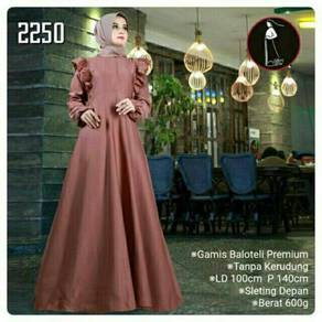 Maxi dress long sleeve Muslimah red black pink