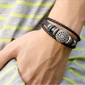 Men Women Bracelet PU Vintage Bronze