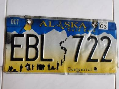 Imported License Plate from Alaska, USA- EBL 722
