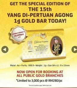 Goldbar Public Gold 1 gram Yang Di-Pertuan Agong