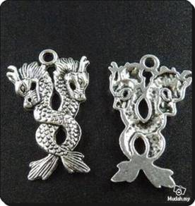ABPSM-D016 Lovely Silver Auspicious 2-Dragons Neck