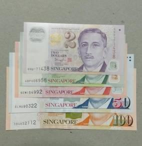 Singapore UNC 5 banknotes set, Yusof Ishak portrai