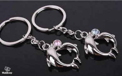ABKSM-D001 Pair Lovely Dolphin Key Ring Key Chain