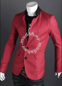 Korean stylish character buttoned slim red blazer