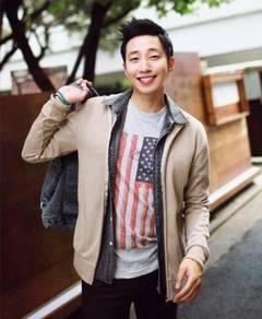 11846 Cream Korean Stand Collar Men Jacket Sweater