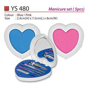 Blue & Pink Manicure Set with Mirror
