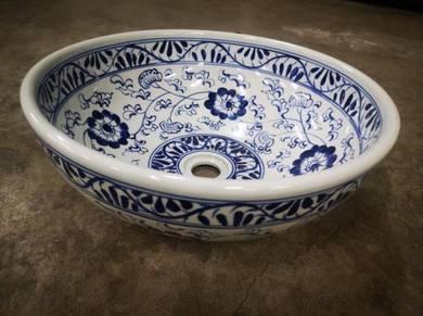New! Hand Painted Art Blue Flower Basin Sink Cera