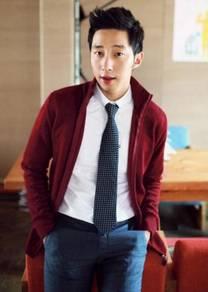 11846 Red Korean Stand Collar Men Jacket Sweater