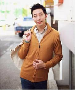 11846 Yellow Korea Stand Collar Men Jacket Sweater