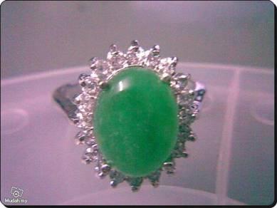 ABRWG-G005 Vogue 9K White GF Jade Womens Ring Sz10