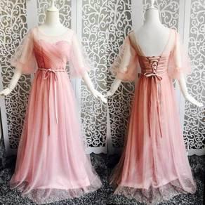 Long sleeve wedding bridal bridesmaid prom dress