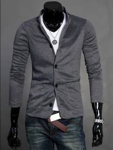 (332) Stand Collar Suit Coat Sweater Man Jacket